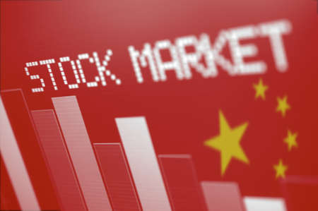 shareholding: Chinese Stock Market - Column Graph Going Down on Red Chinese Flag Stock Photo