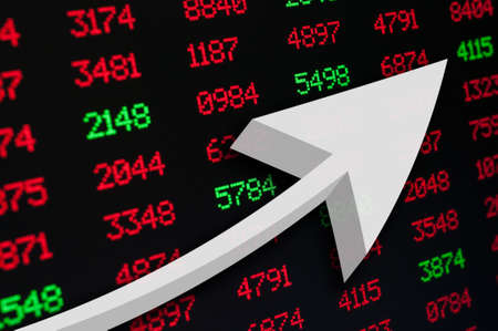 Stock Market - An Arrow on Background of Red and Green Figures