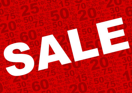 retail sales: Sale Background - Sale Sign With Various Percentage Signs on Red Background
