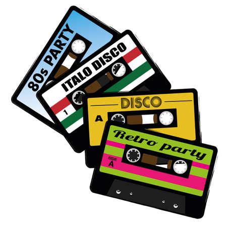 Illustration of Retro Audio Cassette Tape Isolated on White Background