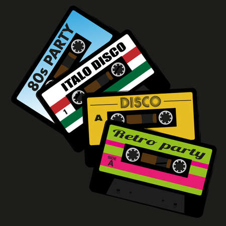compact cassette: Illustration of Retro Audio Cassette Tape Isolated on Black Background