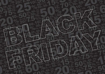 percentage sign: Black Friday Sale Background - Sale Sign With Various Percentage Signs on Black Background