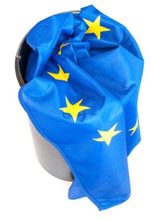 european union: Flag of European Union in Scrap Basket