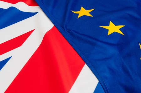 electing: Flags of the European Union and United Kingdom