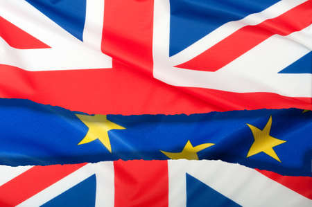 skepticism: Brexit - Detail of �Separated Silky Flags of European Union and United Kingdom Stock Photo