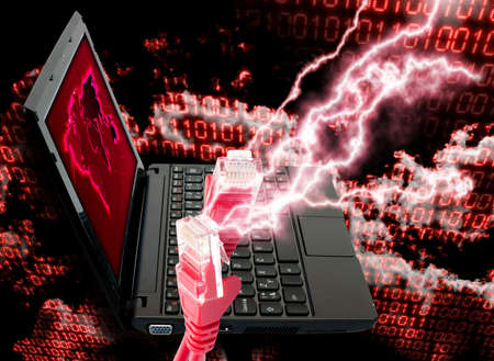 cyberwar: Cloud Computing Concept - Ethernet Cable and Notebook on Binary Code Background Stock Photo