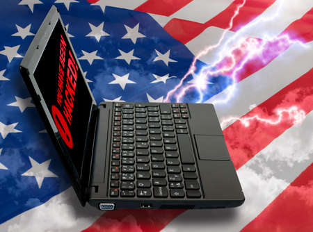 cyberwar: Cloud Computing Concept - Notebook on American Flag