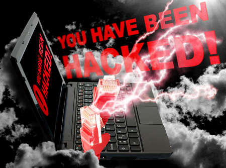 cyberwar: Cloud Computing Concept - Ethernet Cable on Black Sky with You Have Been Hacked sign