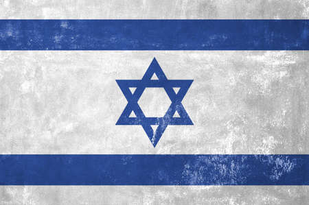 israelite: Israel - Israeli Flag on Old Grunge Texture Background