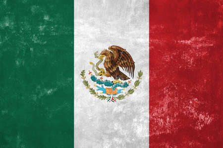 old flag: Mexico - Mexican Flag on Old Grunge Texture Background