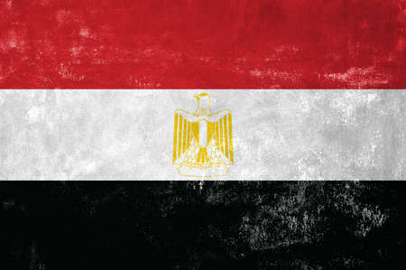 old flag: Egypt - Egyptian Flag on Old Grunge Texture Background