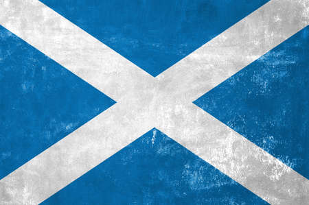 Scotland - Scottish Flag on Old Grunge Texture Background