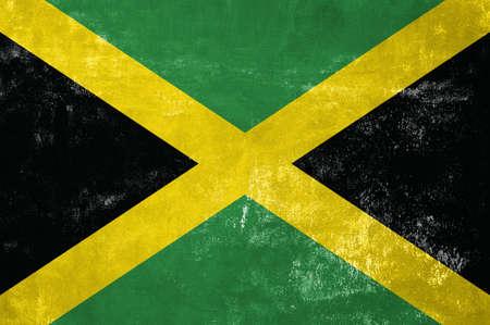 Jamaica - Jamaican Flag on Old Grunge Texture Background