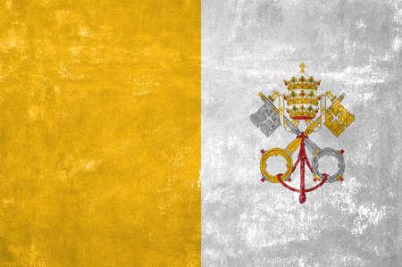 Vatican - Flag on Old Grunge Texture Background Reklamní fotografie