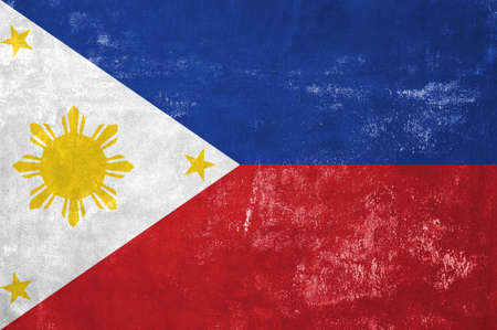 Philippines - Flag on Old Grunge Texture Background