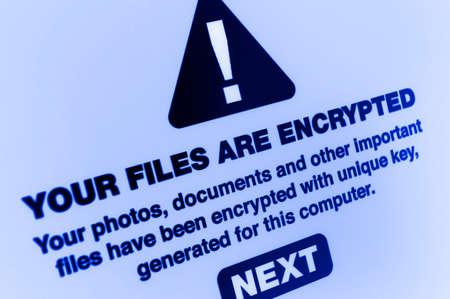 ランサムウェア - あなたファイルが画面では暗号化のクローズ アップ