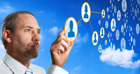 Businessman works with social network Stock Photo - 8802292