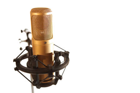 golden microphone Stock Photo