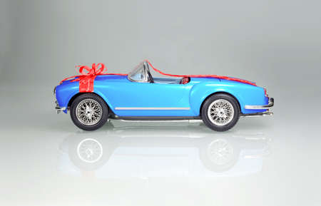 Luxury Historic Car wrapped as Present - Happy Birthday! photo