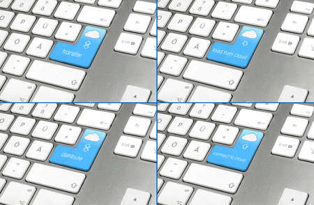Set of four keyboard layouts for cloud computing photo