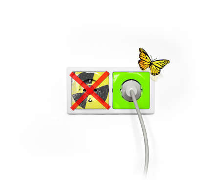 Power outlet shows green energy, no more nuklear energy photo