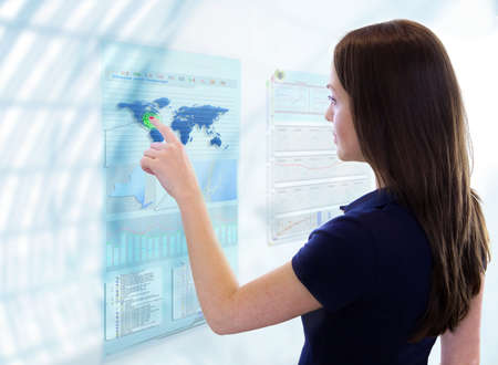 Woman works with future display Stock Photo - 9568838