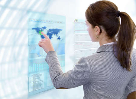 Business Woman works with future display Stock Photo