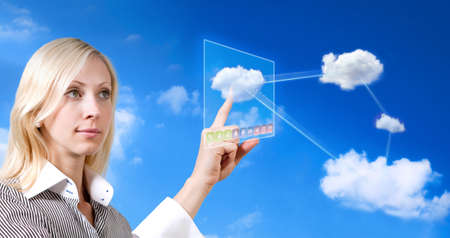 businesswoman works with cloud computer