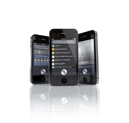4s: Aachen, Germany - November 14, 2011: Studio shot of 3 Apple iPhone 4S s showing the Siri Speech App