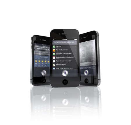Aachen, Germany - November 14, 2011: Studio shot of 3 Apple iPhone 4S s showing the Siri Speech App