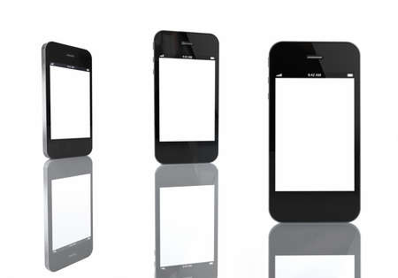3 Mobile Phones with Blank Screen, ready for your content Stock Photo