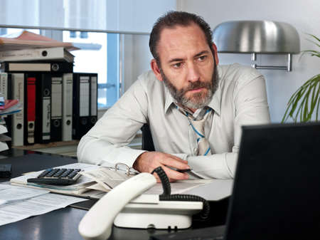 Mature businessman calculating finance  Horizontal shot Stock Photo - 13160616