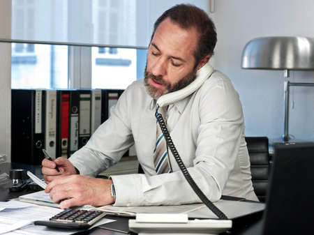 Mature businessman on the phone  Horizontal shot Stock Photo - 13160575