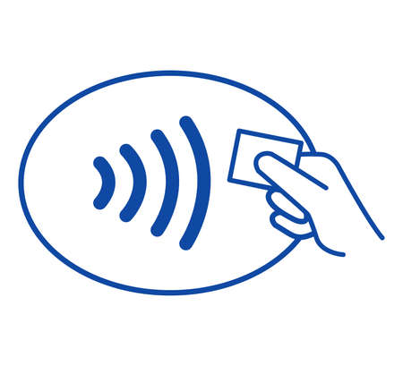 nfc: The new way to pay  NFC payments via mobile phone, etc Stock Photo