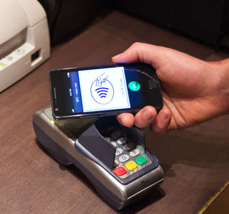 The new way to pay  NFC payments via mobile phone, etc Stock Photo - 13492001