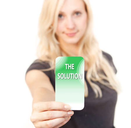 seperation: Young woman is smiling while showing a solution Card