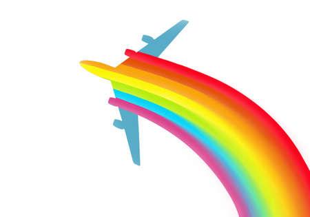 illustration of an airplane with rainbow illustration