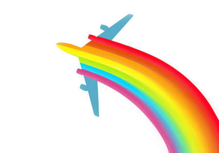 illustration of an airplane with rainbow