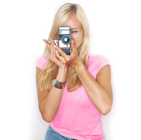 beautifull woman: beautifull woman holds vitage film camera Stock Photo