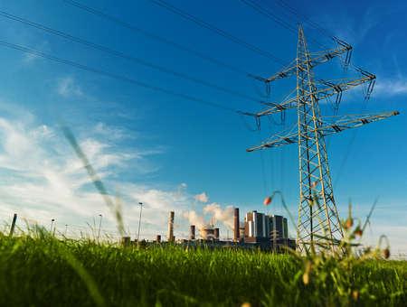 industry moody: power plant - sunny day Stock Photo