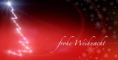 deutsch: Sparkly christmas tree background with german text