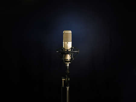 talent show: golden broadcast voice microphone on dark background Stock Photo