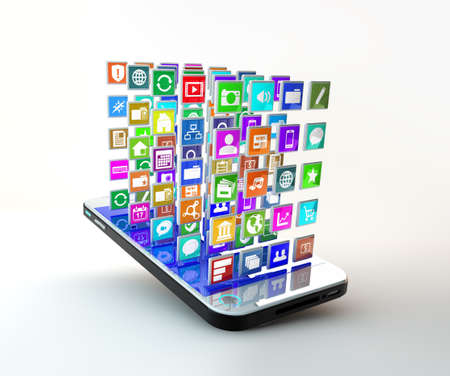 i pad: Mobile Phone with lots of apps flying arround
