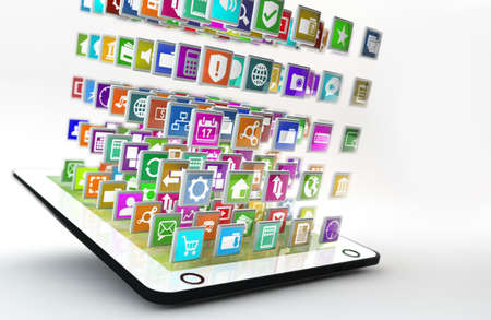 tablet pc with lots of apps flying arround