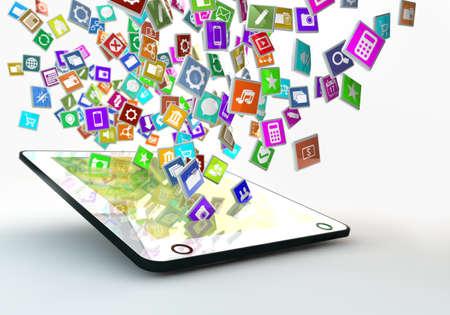 タブレット pc アプリ飛んで arround の多く 写真素材