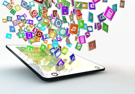 app: tablet pc with lots of apps flying arround