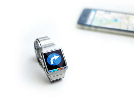 concept of data watch, so called smart watch or iwatch  connects via bluetooth to smartphone