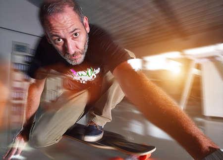 backlite: Mature Skateboarder in Office