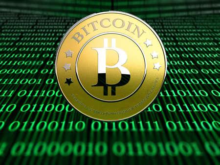 gold mining: a bitcoin - the new virtual money Stock Photo