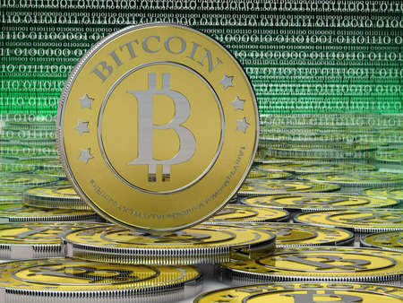 lots of bitcoins - the new virtual money photo